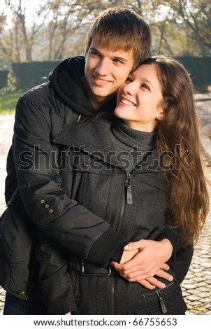 Young couple in hug full of love