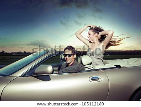 Young couple in journey - stock photo