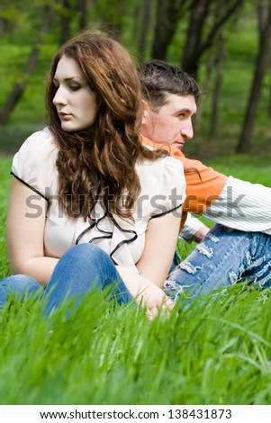 Young couple in little quarrel