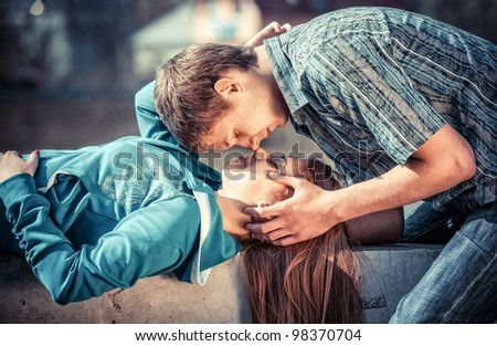 Young couple in love - stock photo