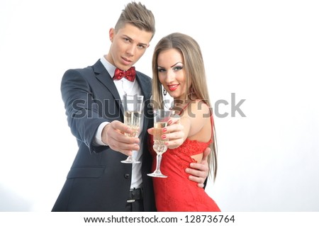 Young couple in love celebrate valentine's day - stock photo