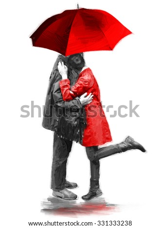 Young couple in love. Illustration in oil painting style - stock photo