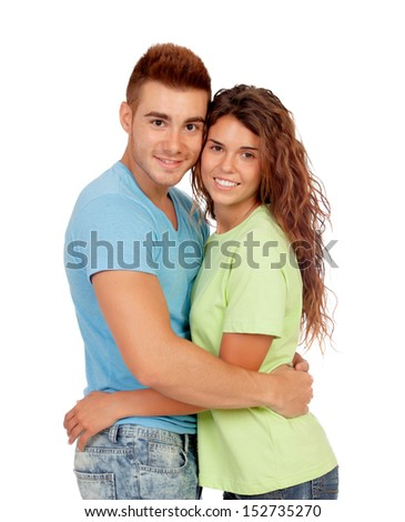 Young couple in love isolated on white background - stock photo