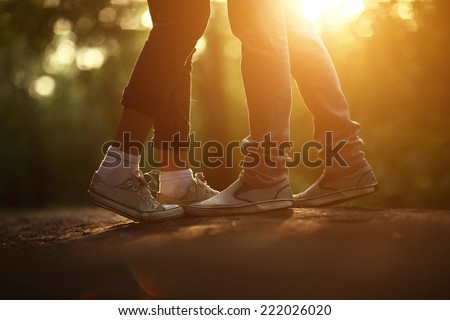 Young couple in love kissing . - stock photo