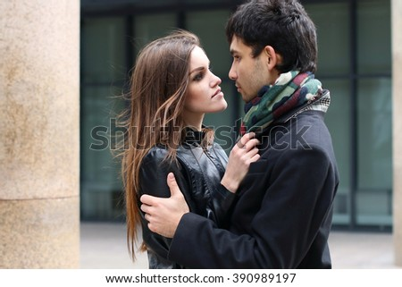 Young couple in love on the urban street