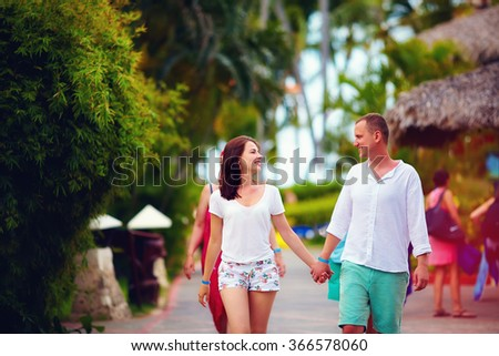 young couple in love on vacation - stock photo