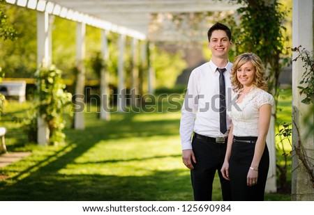 Young couple in the park - stock photo