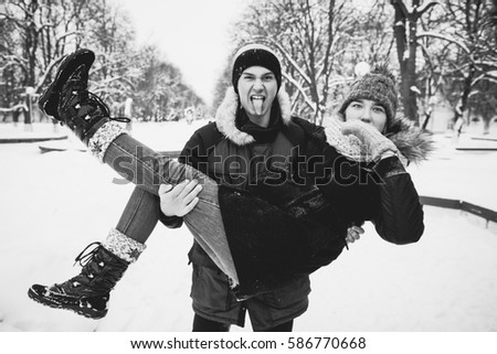 Young couple in winter Park