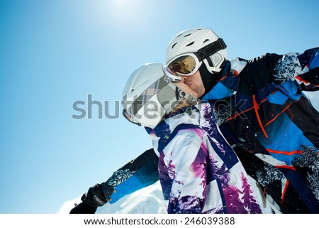 Young couple inwinter vacation - stock photo
