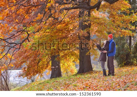 Young couple is walking in the forest golden autumn - stock photo