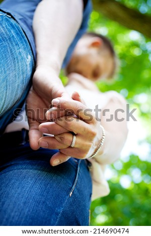 Young couple just engaged - stock photo