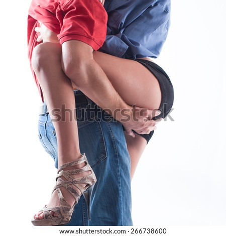 Young couple making passionate touching for part of body - stock photo