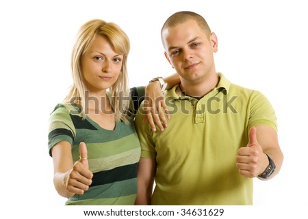 young couple making their ok sign over white background