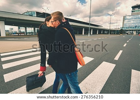 Young Couple Met at the airport, Prague  - stock photo