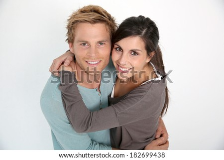 Young couple of lovers embracing each other, isolated