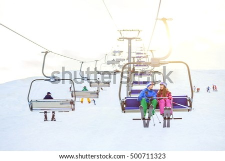 Young couple on a lift