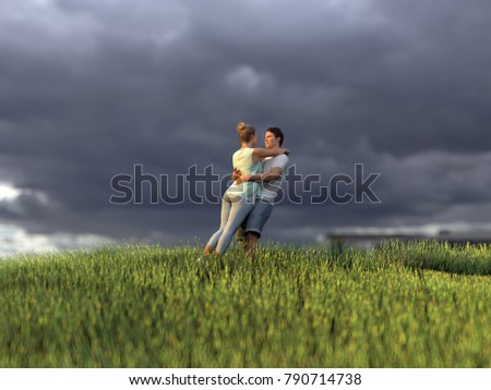 young couple on green grass field, 3d illustration