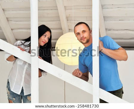 Young couple on in love at home