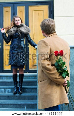 Young couple on the date. - stock photo