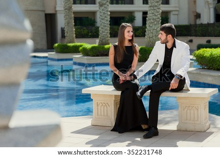 young couple on vacation in Dubai - stock photo