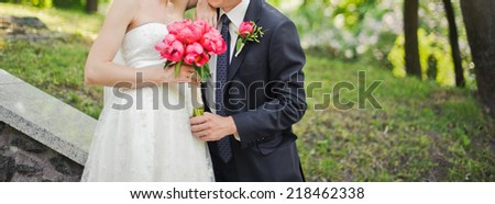Young couple on wedding day