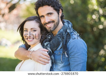 Young couple outdoor - stock photo