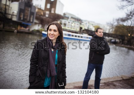 Young couple portrait in Candem Town, London. - stock photo