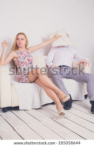 Young couple quarrel - stock photo