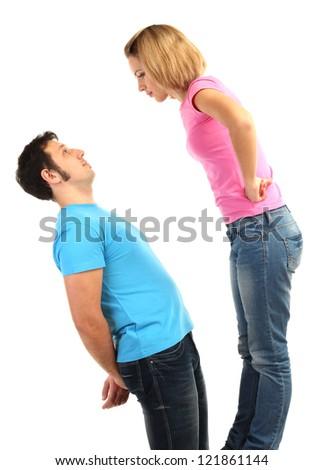 Young couple quarreling isolated on white - stock photo