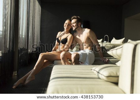 Young couple relax and enjoy in the room