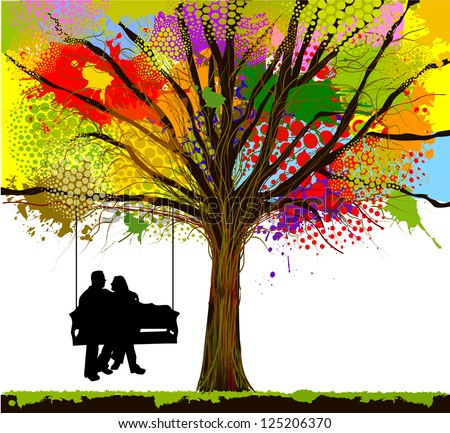 Young couple riding on a swing under a colorful tree. raster - stock photo