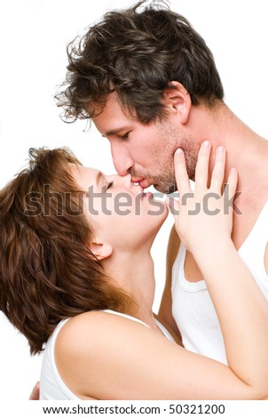 Young couple sharing a tender moment.
