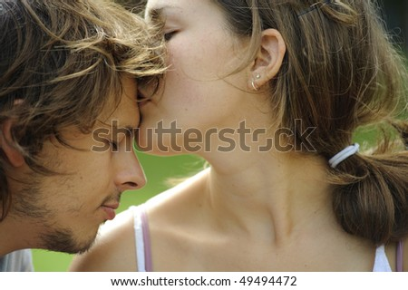 Young couple show tenderness towards each other