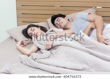 Young couple sleeping in bed. Young Couple Sleeping Bed Stock Photo 604756373   Shutterstock