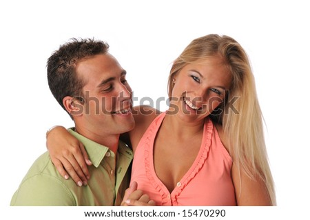 Young couple smiling isolated on a white background - stock photo