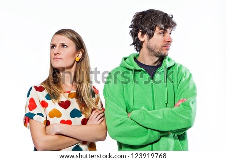Young couple split and not talking to each other