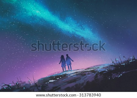 young couple standing holding hands against the Milky Way galaxy,illustration painting - stock photo