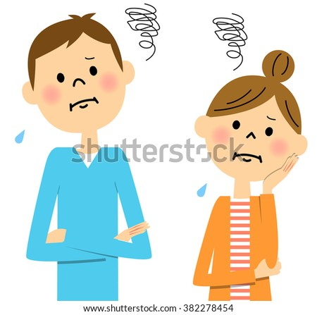 Young couple,Trouble - stock photo