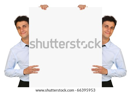 young couple twin  presenting a signpost  over white background