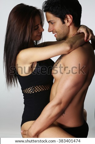 Young couple wearing lingerie