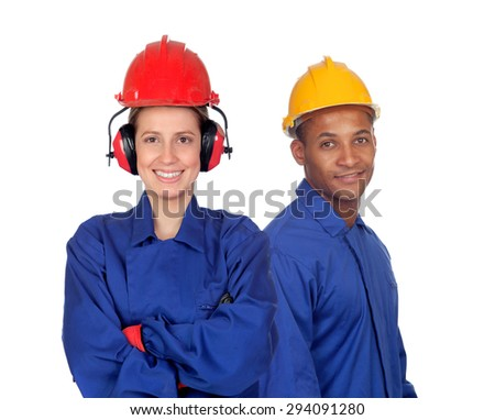 Young couple with clothing workers safety at work isolated on white background - stock photo