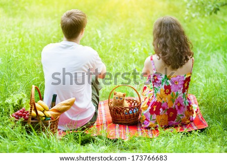 Young couple with kitten in a basket at a picnic sitting back to camera