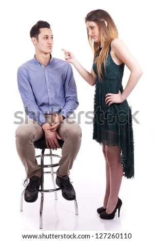 Young couple: Woman blame her man - stock photo