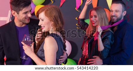 Young couples enjoying the New Year's party
