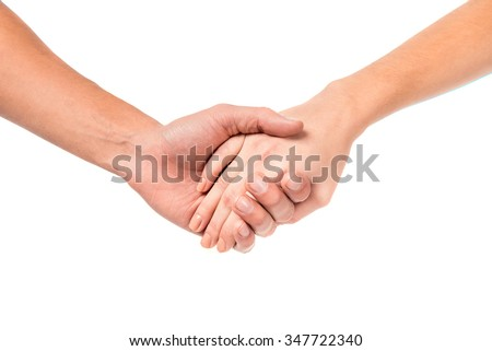 Young couples hand sign, isolated on a white background - stock photo