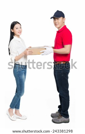 young courier deliver package to pretty woman, white background. - stock photo