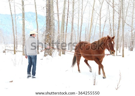 Young cowboy with his horse in a snow forest - stock photo