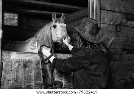 Young cowgirl in the stables at the ranch - stock photo