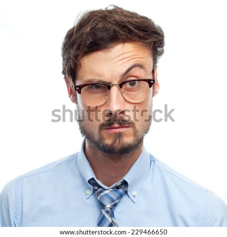 young crazy businessman doubting - stock photo