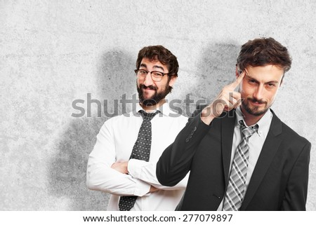 young crazy businessman intelligence gesture